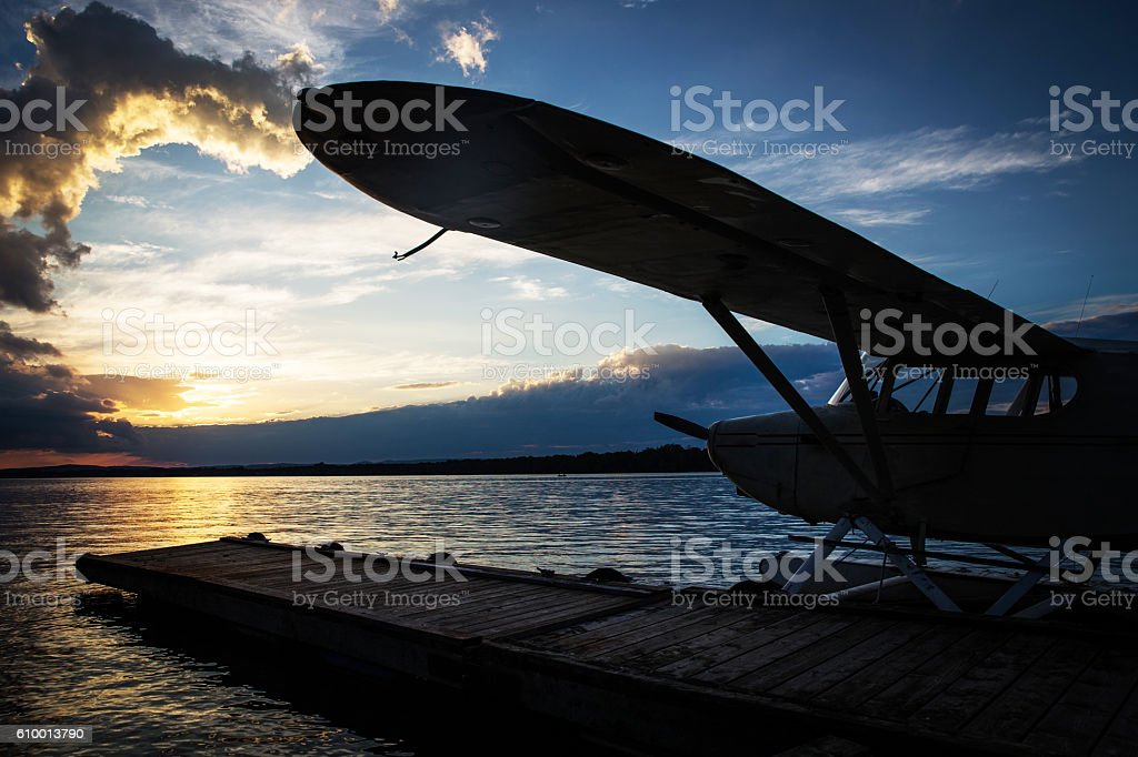 Floatplane at sunset stock photo