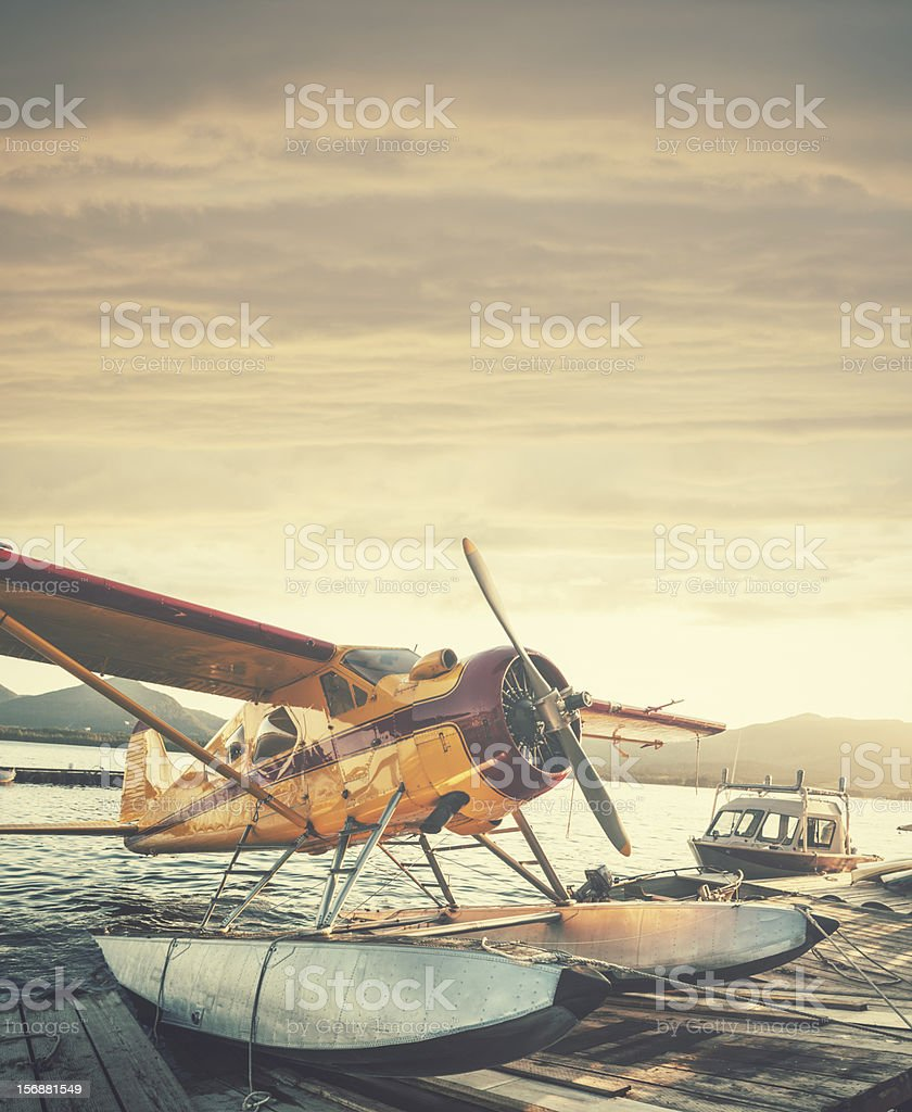 Floatplane in Sunset stock photo