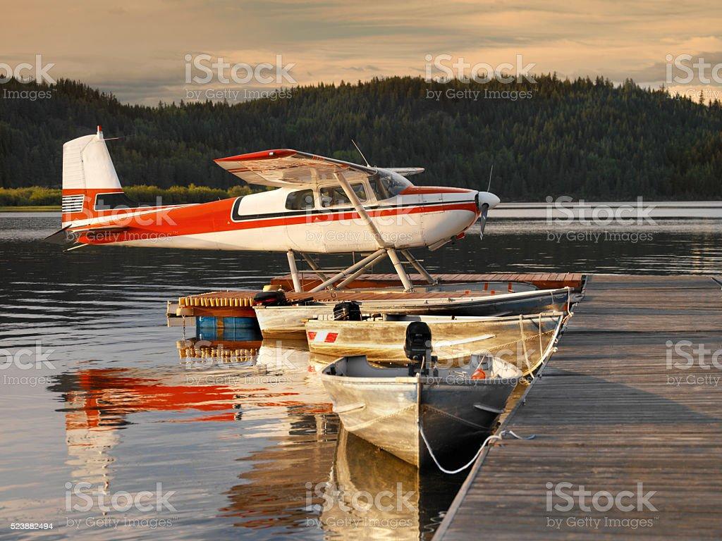 Floatplane moored at a jetty - Canada stock photo
