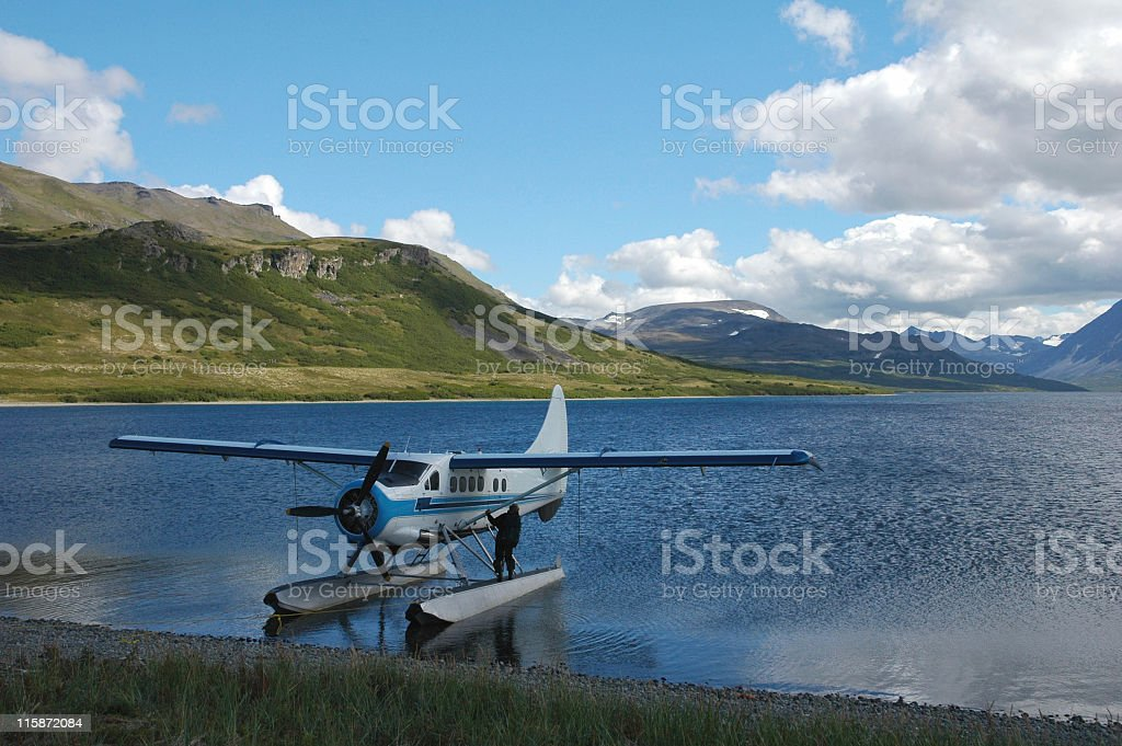 Floatplane on  Battle Lake,Katmai National Park,Alaska,USA royalty-free stock photo
