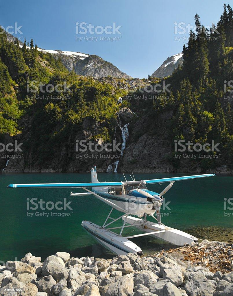 Floatplane - Rock Mountains - Canada stock photo
