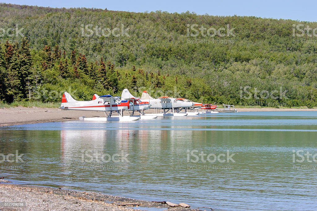 Floatplanes Parked at Brooks Falls Alaska stock photo