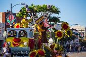 Floats at the 127th Rose Parade in Pasadena CA