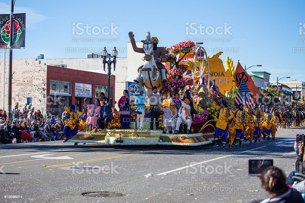 Floats at the 127th Rose Parade in Pasadena CA stock photo