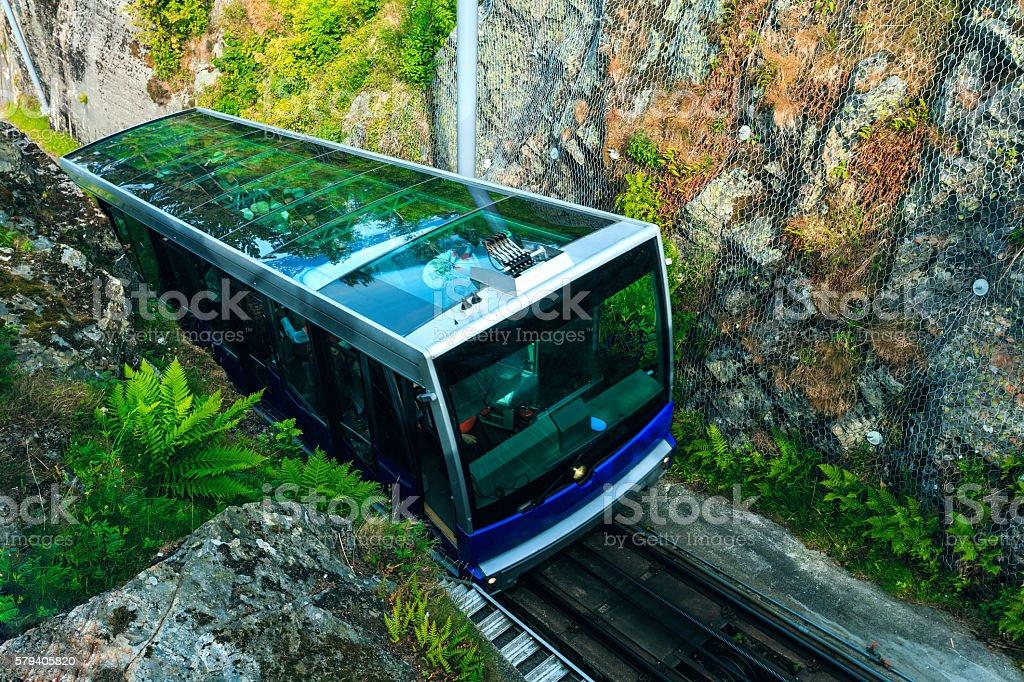 Floibanen funicular to Mt Floyen at Bergen City, Norway stock photo