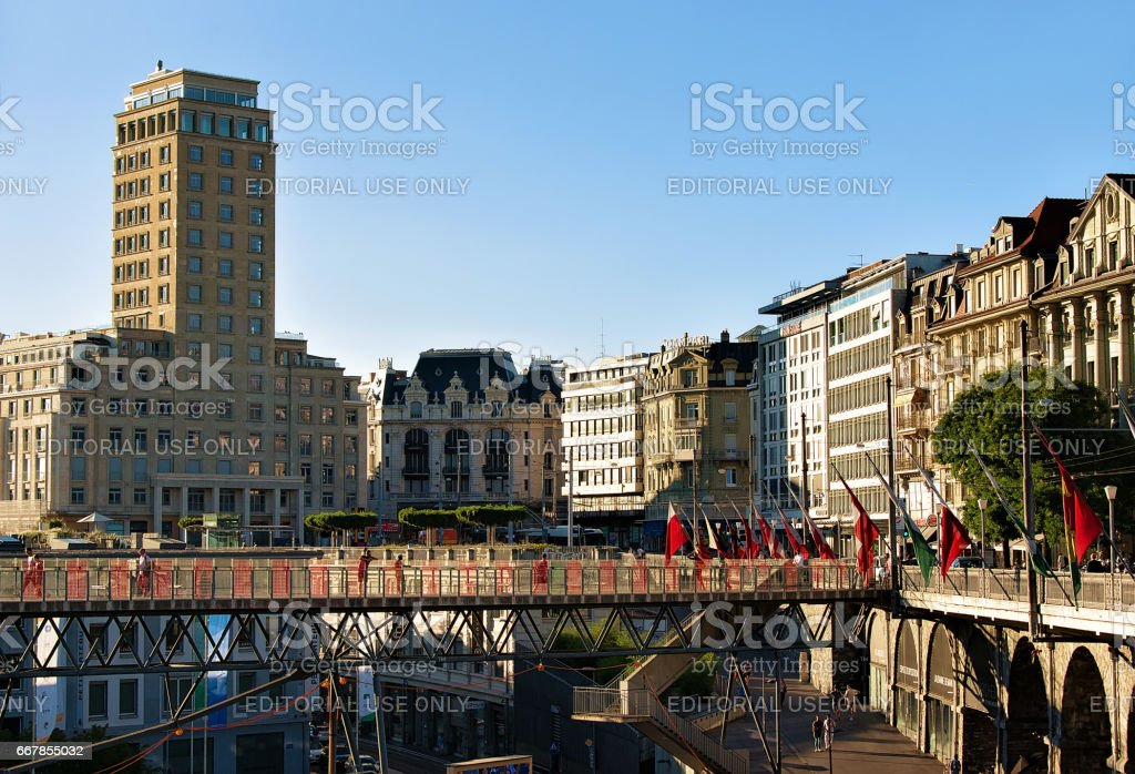 Flon district and Grand pont bridge with Bel Air Tower stock photo