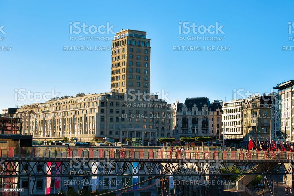 Flon district with Grand pont bridge and Bel Air Tower stock photo