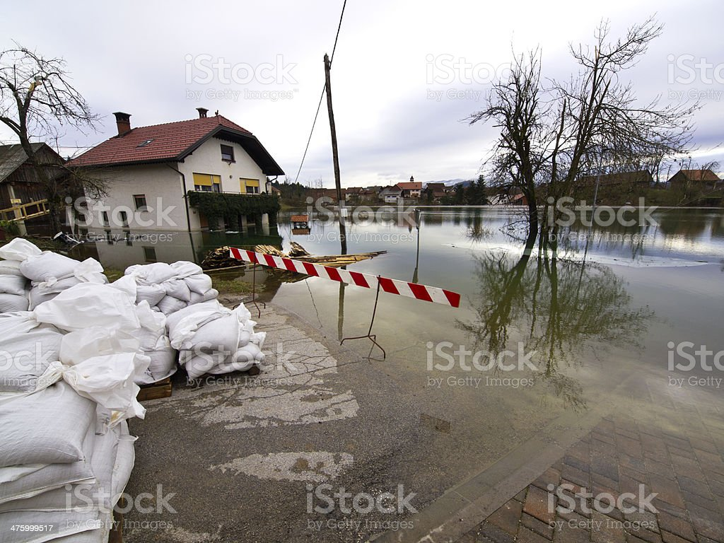 Flood bags royalty-free stock photo