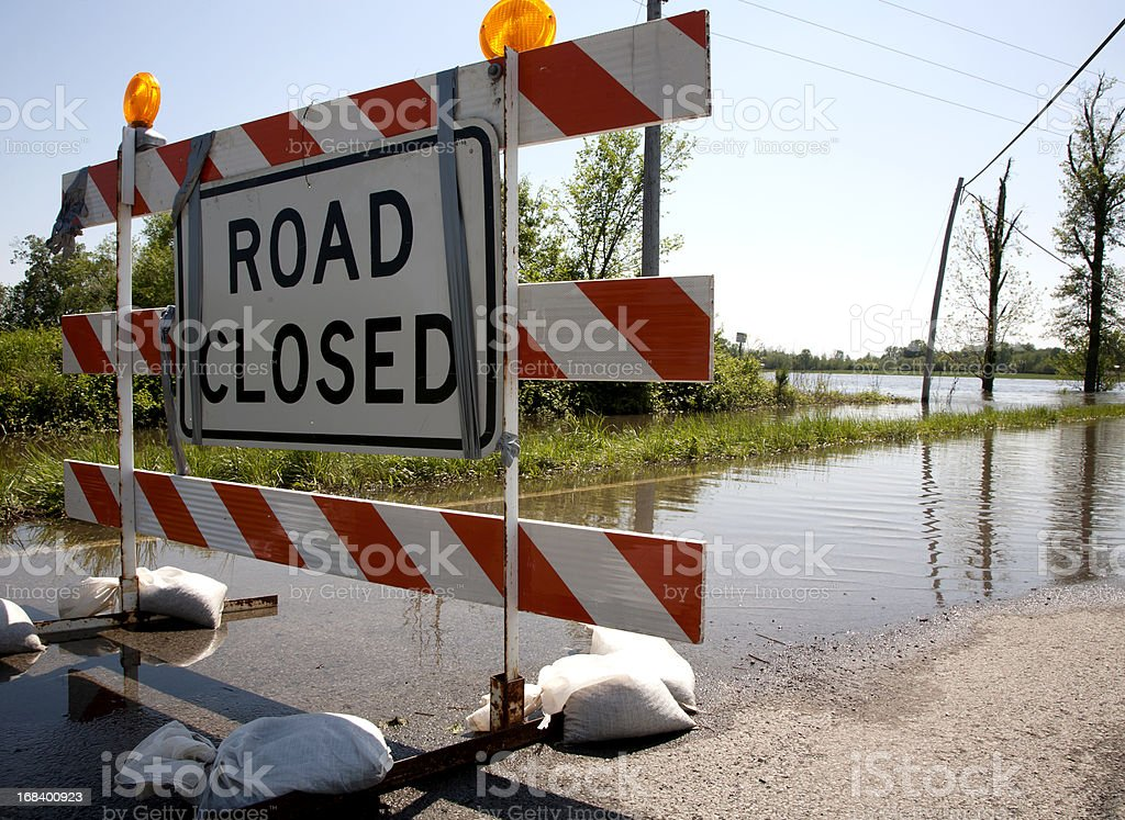 Flood closing highway stock photo