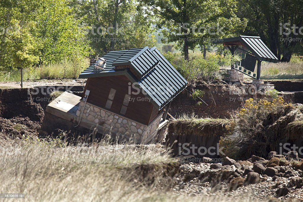 Flood collapsed facilities Longmont Colorado stock photo