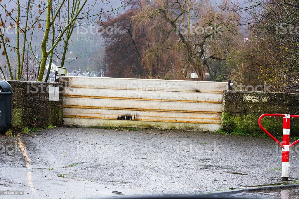 Flood control after heavy rains stock photo