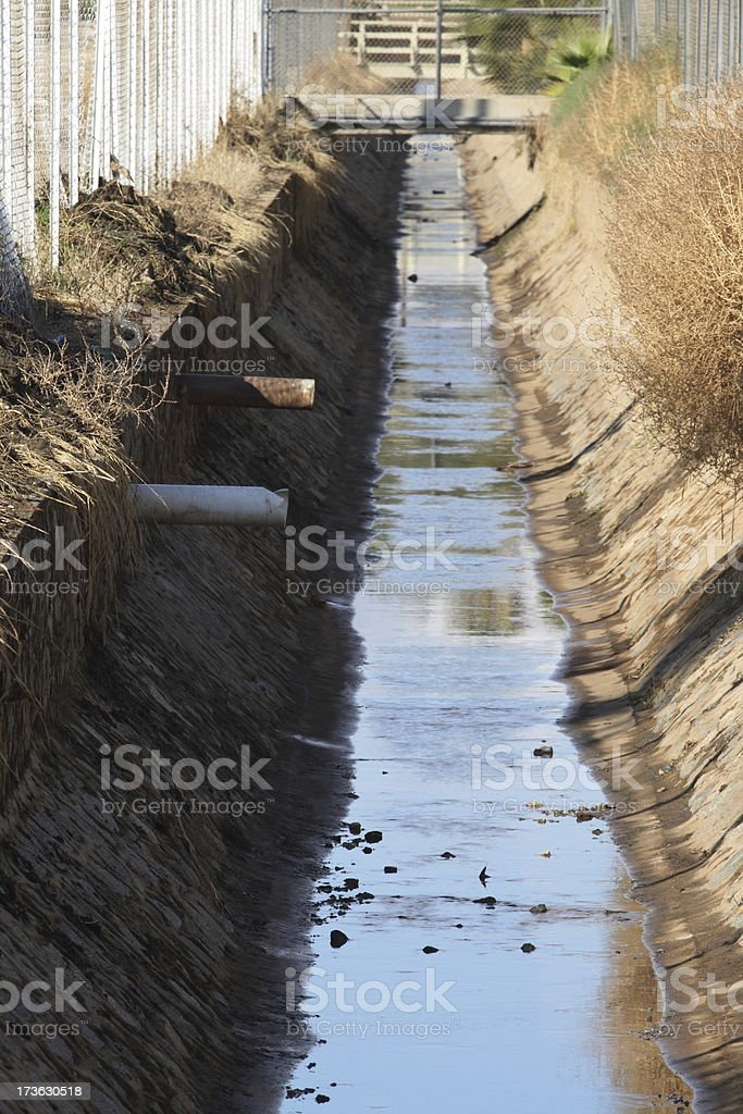 Flood Control Channel Two Pipes royalty-free stock photo