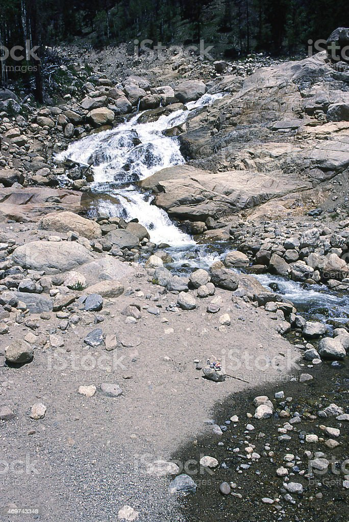 Flood Damage Big Thompson River Rocky Mountain National Park Colorado stock photo