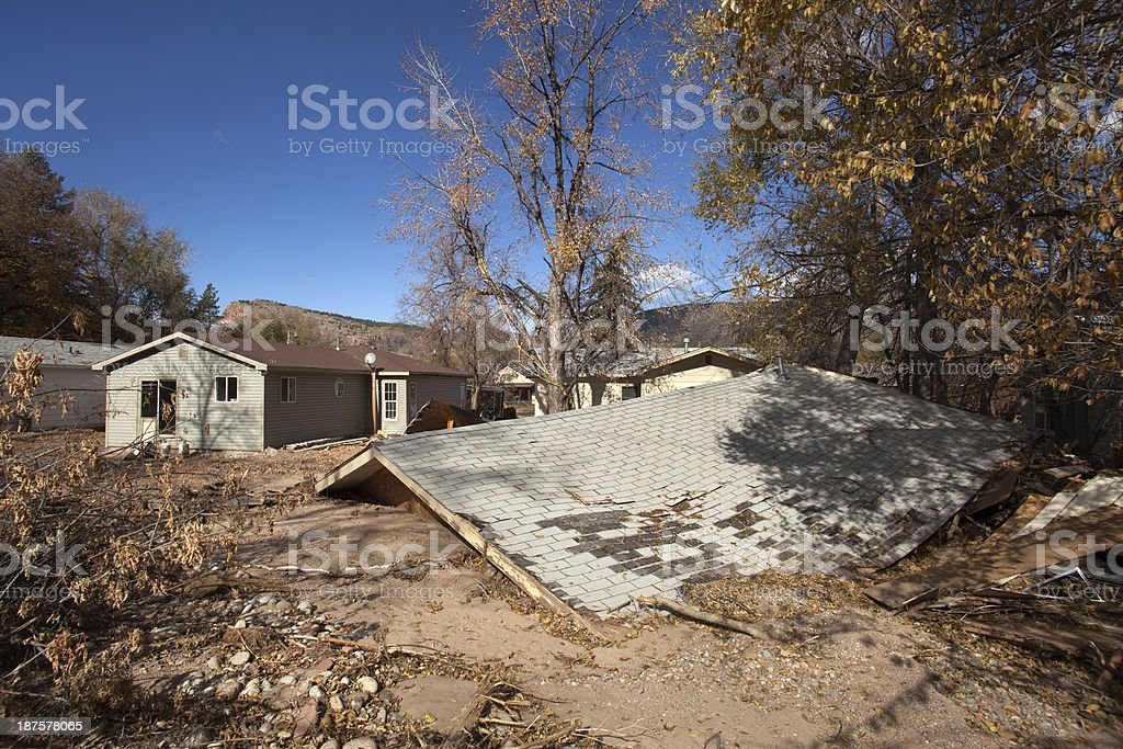 Flood damage in Lyons Colorado stock photo