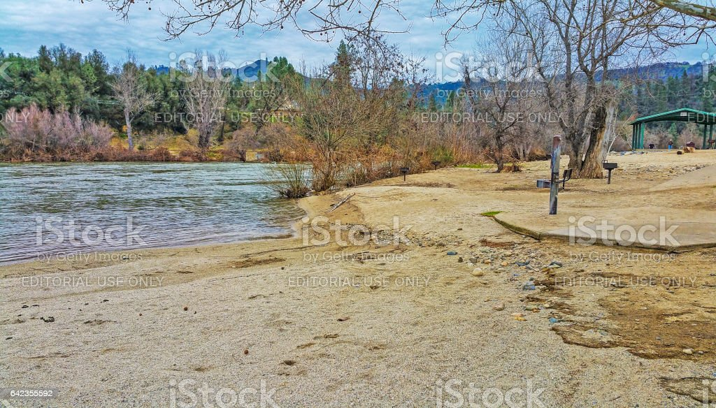 Flood Damaged Beach at County Park and American River stock photo