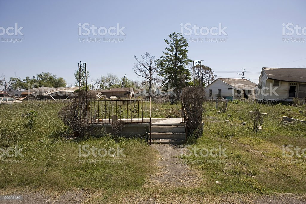 Flood Damaged home in New Orleans Ninth Ward royalty-free stock photo
