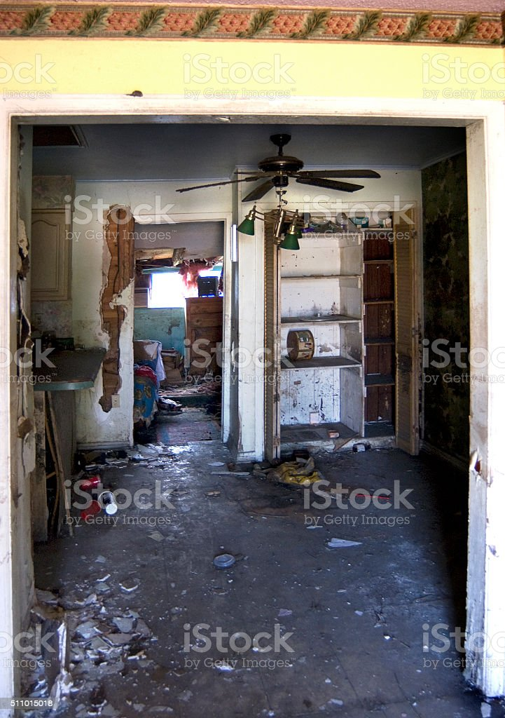 flood damaged house stock photo