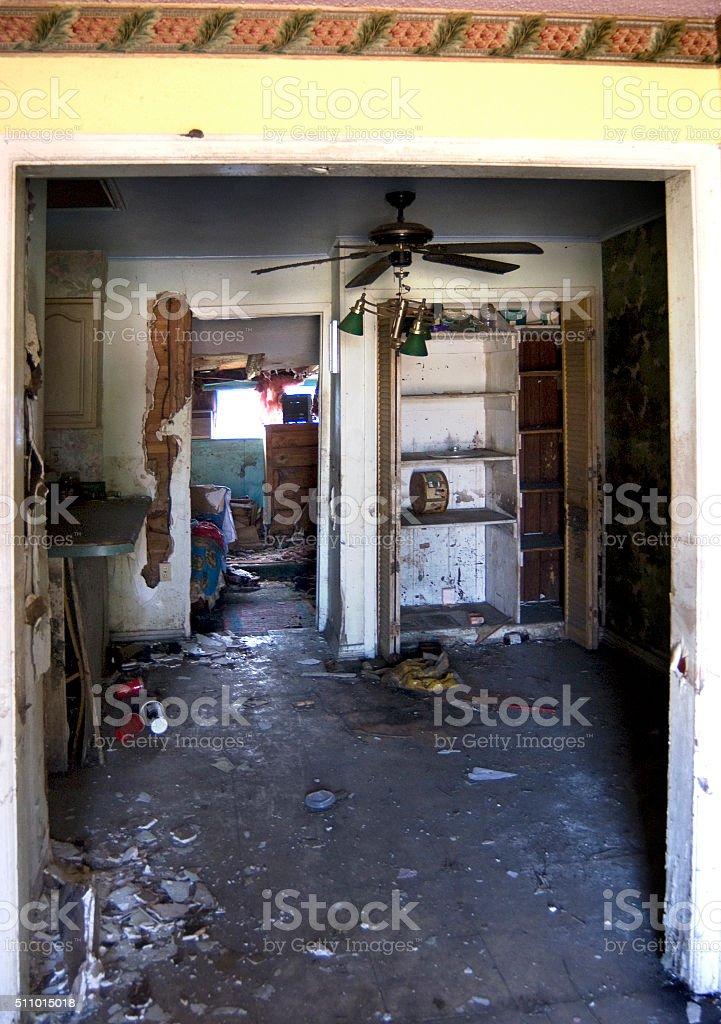 flood damaged house stock photo