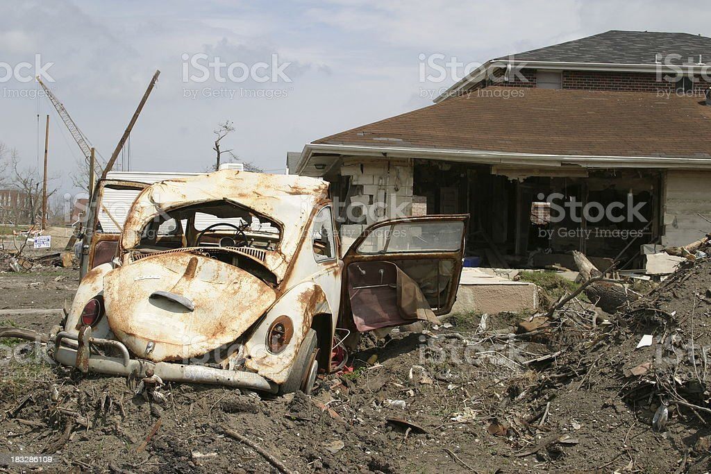Flood Damaged Neighborhood stock photo