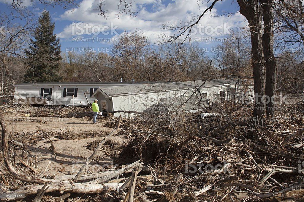 Flood destroyed mobile home park Lyons Colorado stock photo