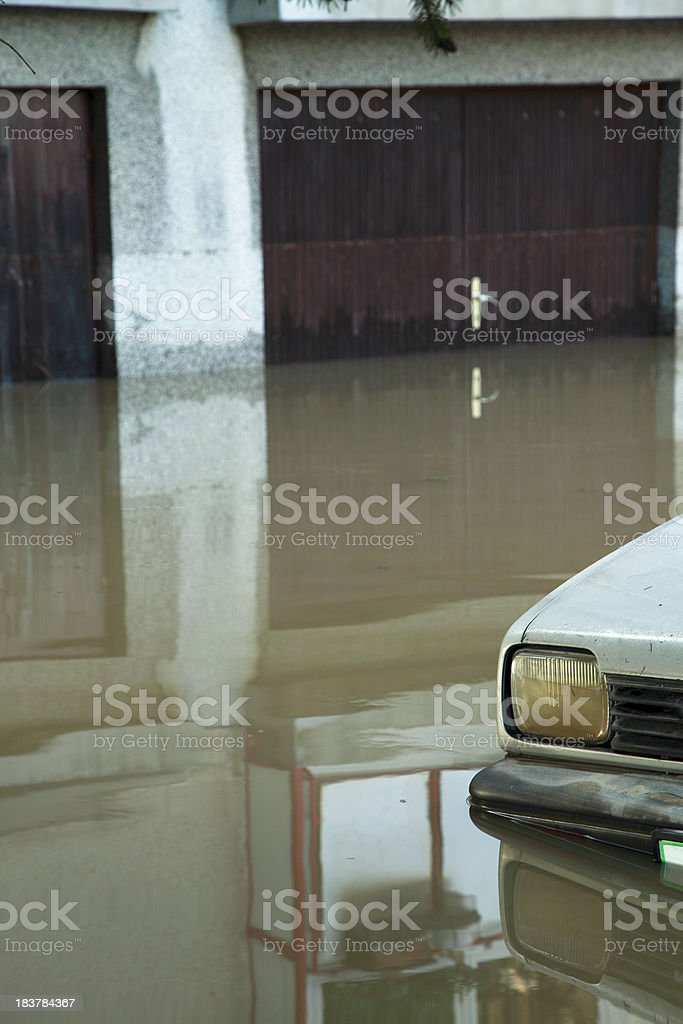 Flood in city stock photo