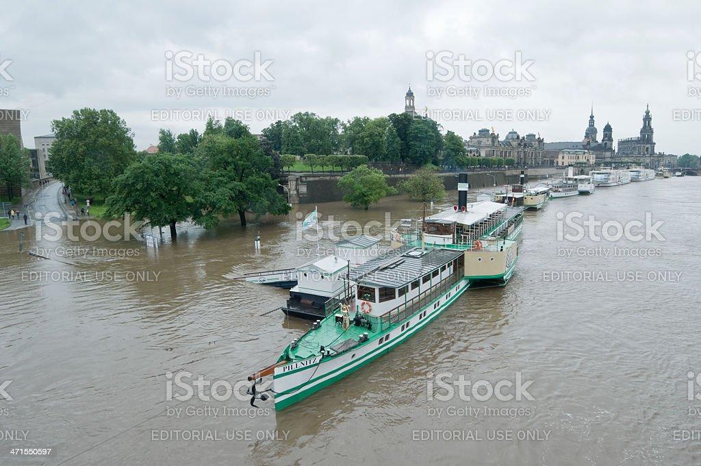 Flood in Dresden stock photo
