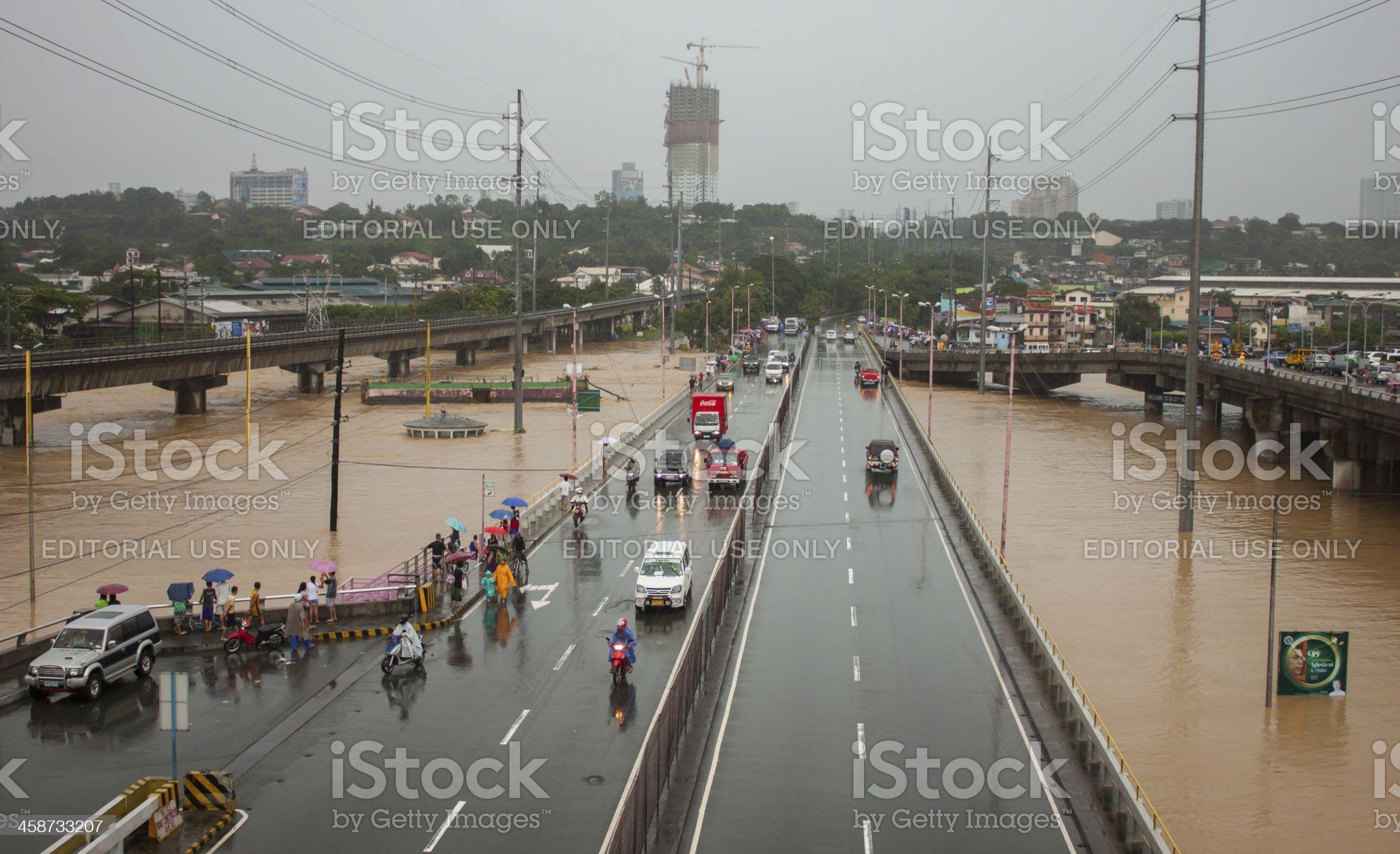 Flood in Manila, Philippines royalty-free stock photo