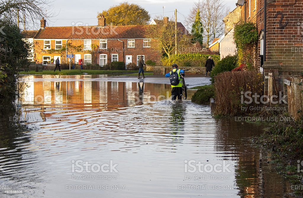 Flood in Snape, Suffolk after North Sea tidal surge stock photo