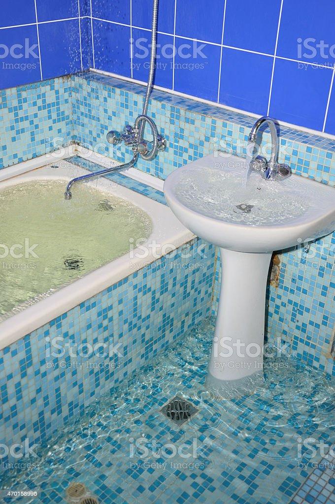 Überschwemmung Im Badezimmer Lizenzfreies Stock Foto