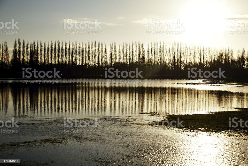 flood in UK, river Thames  Reading stock photo