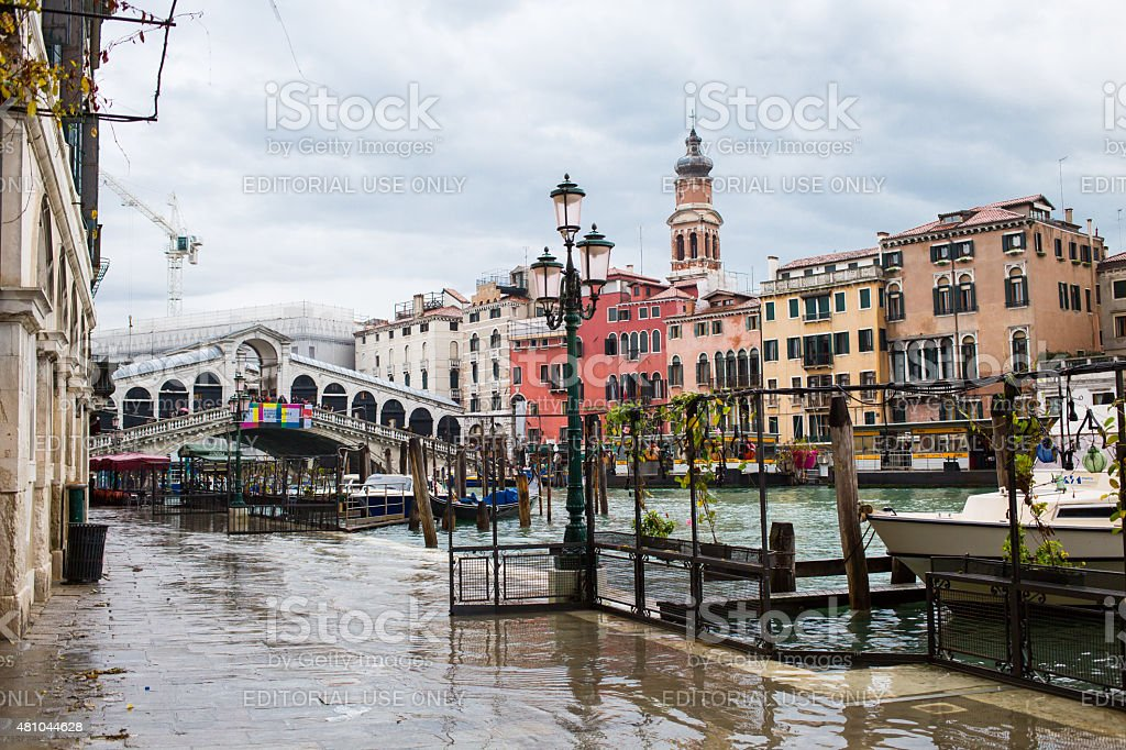 Flood in Venice, Rialto bridge and canal view, Italy stock photo