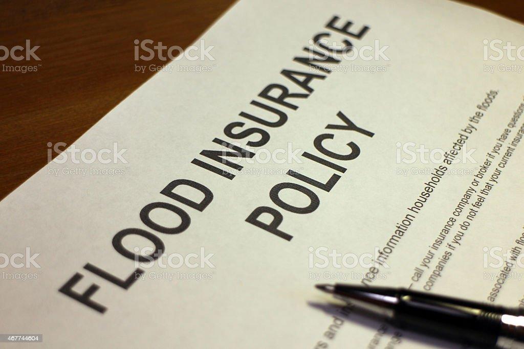 Flood Insurance Policy stock photo