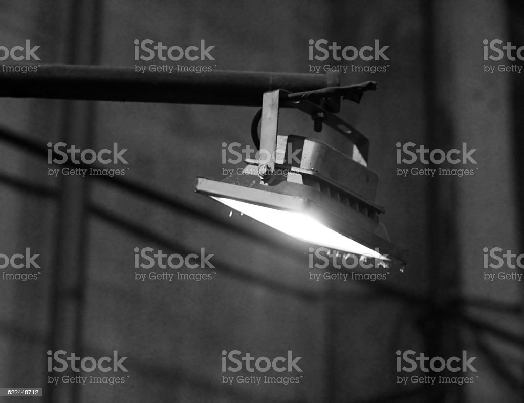 LED flood light, indoor lamp stock photo