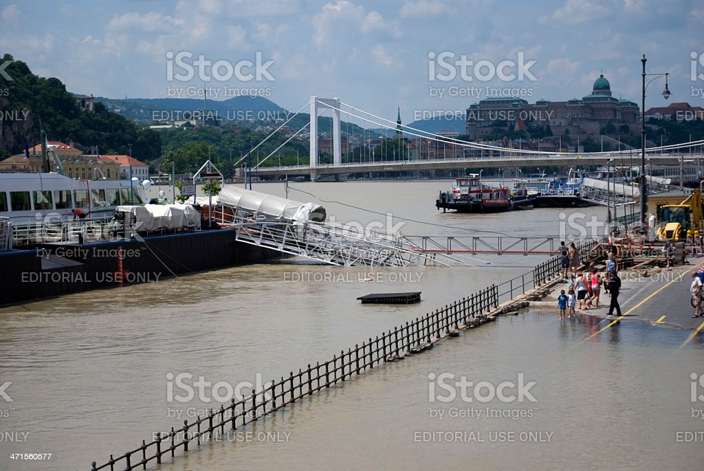 Flood on Danube River, Budapest, Hungary royalty-free stock photo