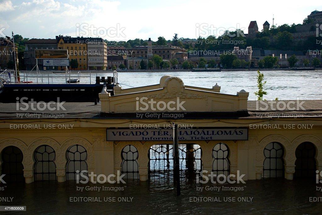 Flood on Danube River, Budapest, Hungary royalty-free stock photo