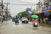 Flood road in Phatthalung, Thailand