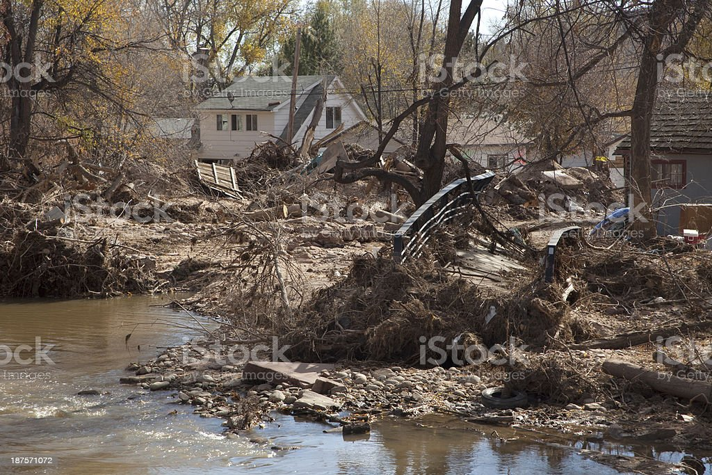 Flood twisted bridge damaged homes Lyons Colorado stock photo