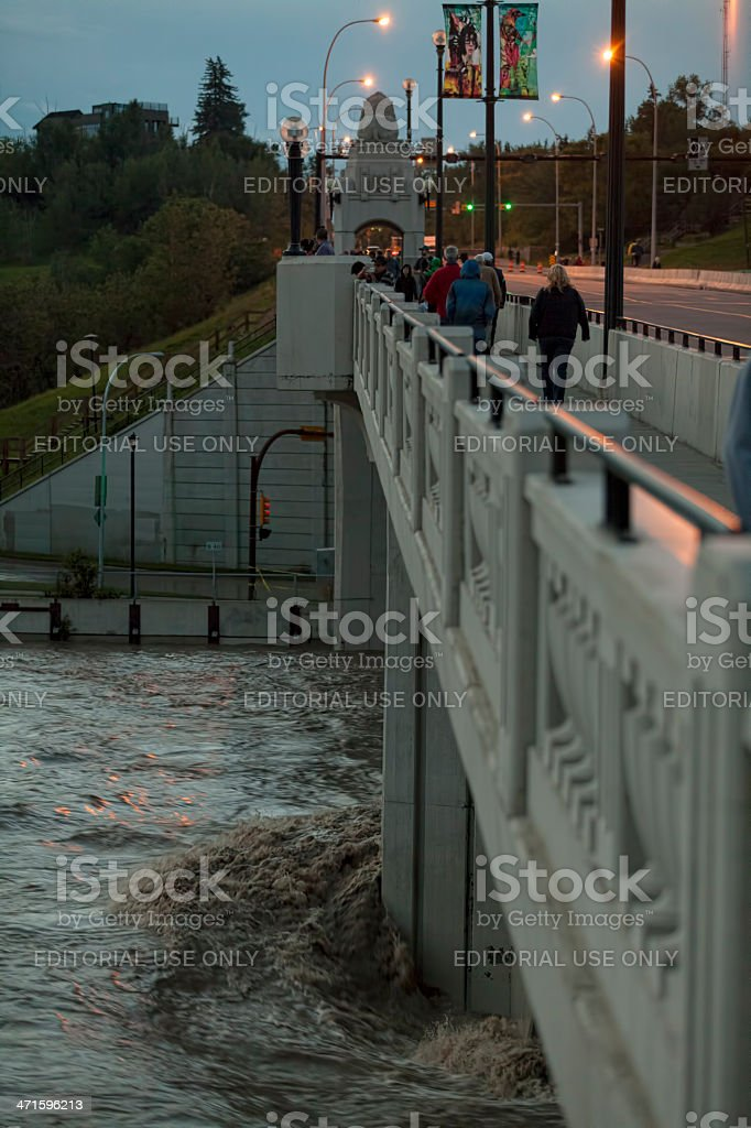 Flood water of the Bow River in Calgary royalty-free stock photo