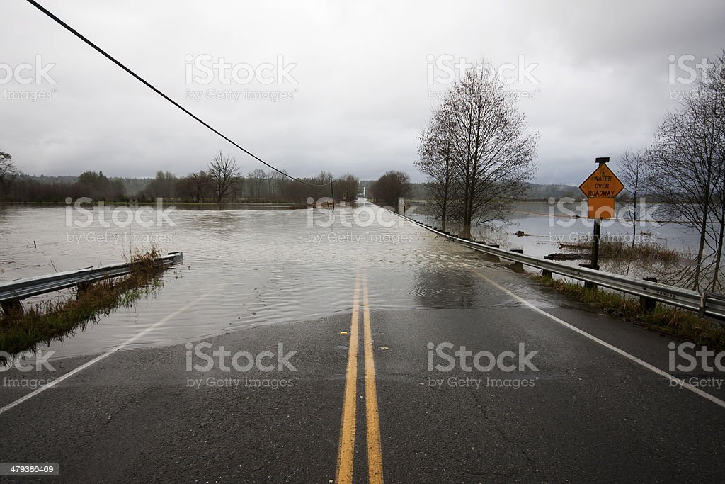 Flood Water Over Roadway stock photo