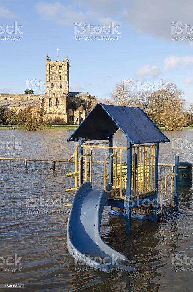 Flood water Tewkesbury Abbey, Gloucestershire stock photo