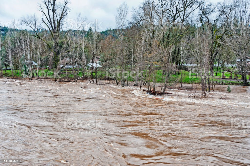 Flood waters Coloma from South Fork of the American River stock photo