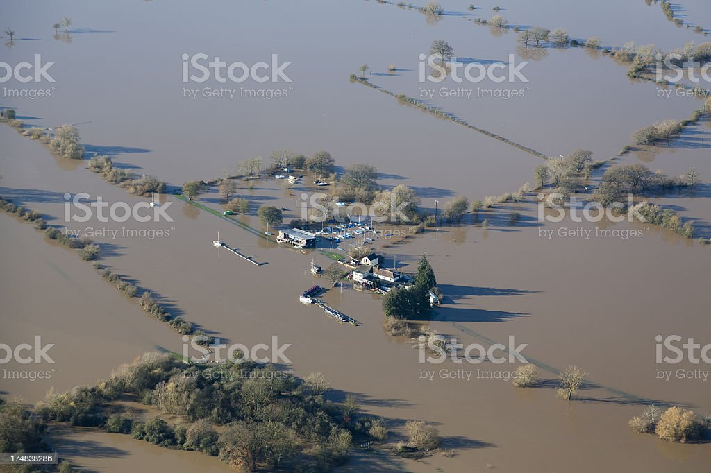 Flooded aerial views of Gloucestershire in UK stock photo
