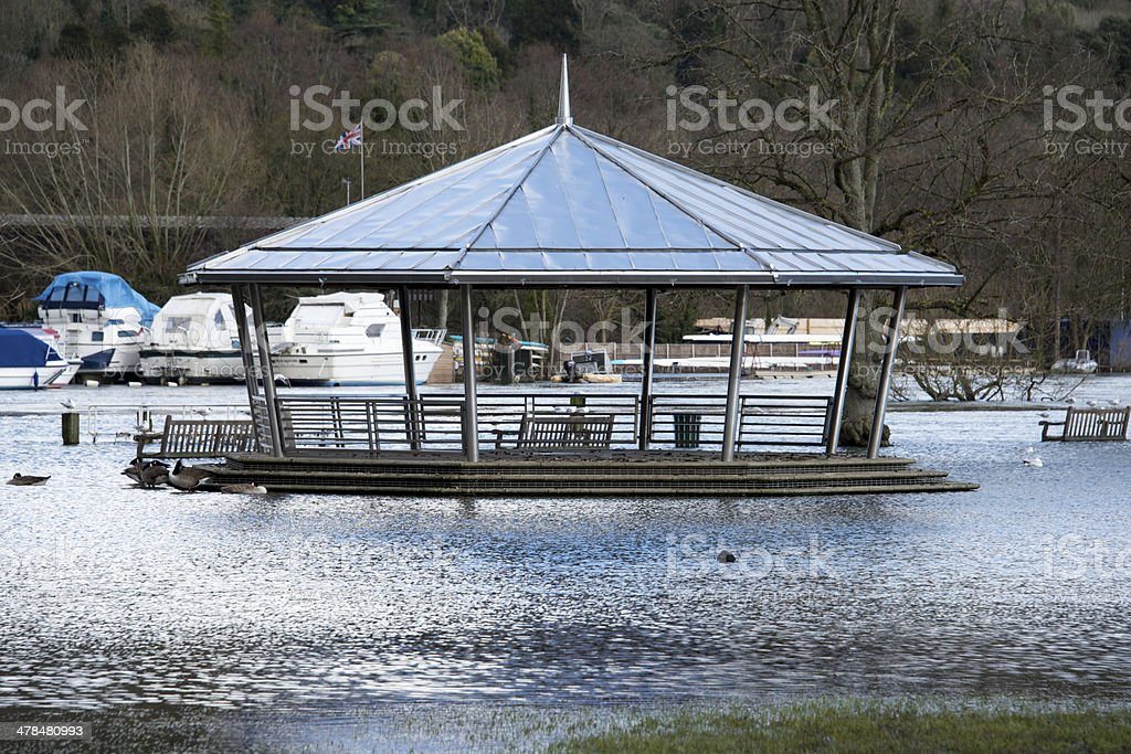 Flooded bandstand stock photo