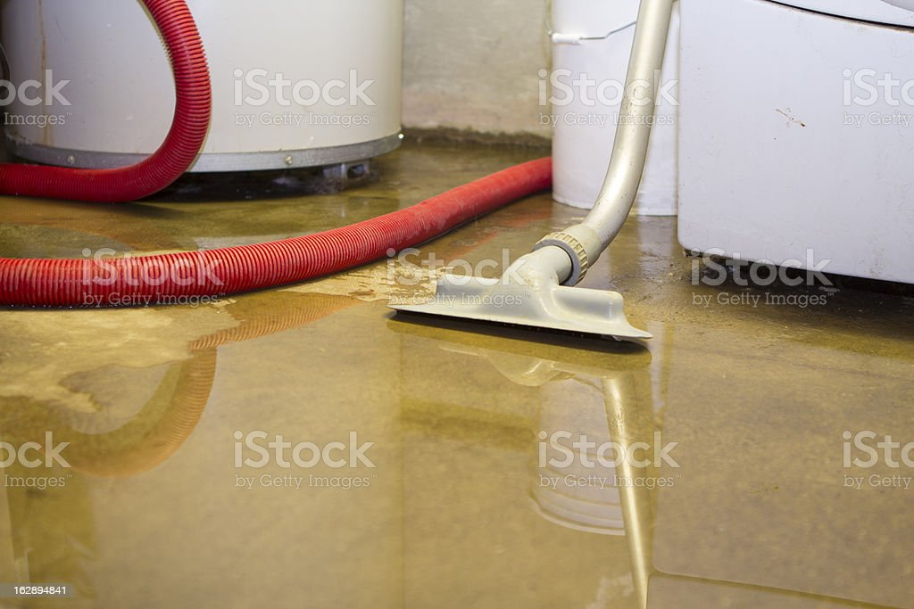 Flooded basement cleanup stock photo