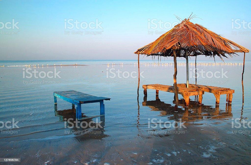 Flooded Beach in Goa stock photo
