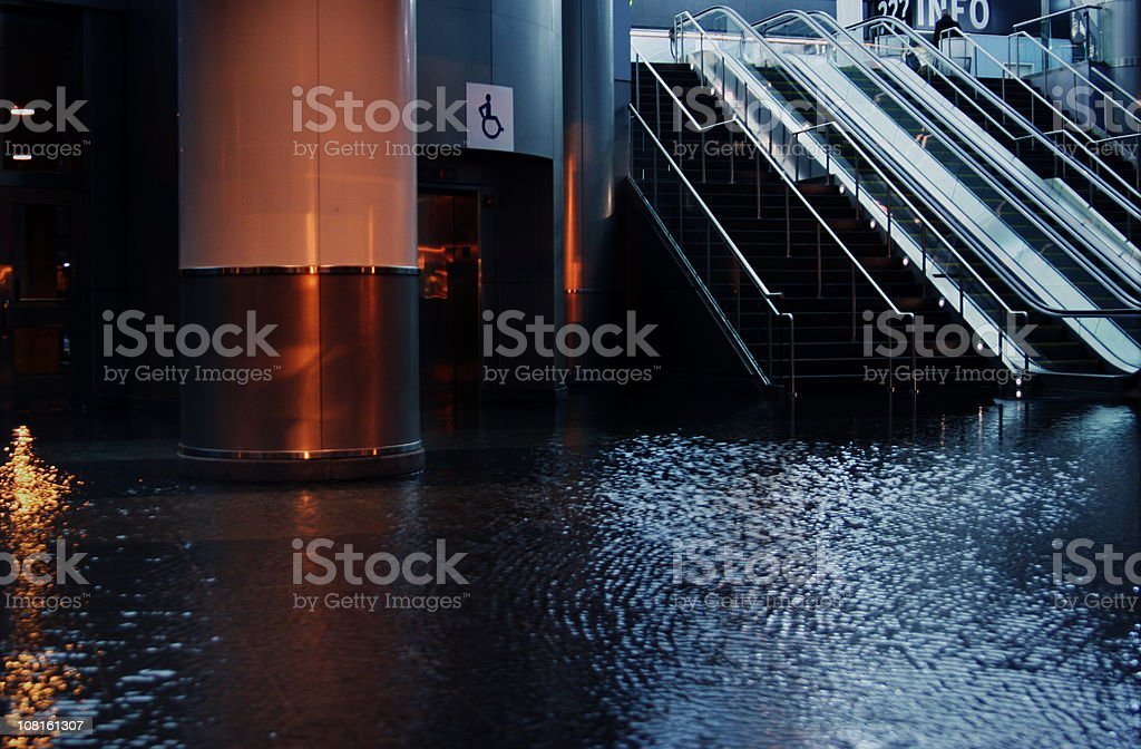 Flooded building stock photo