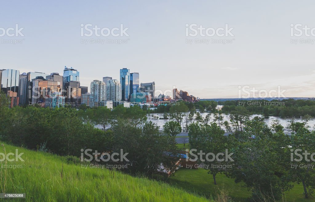 Flooded Calgary Community stock photo
