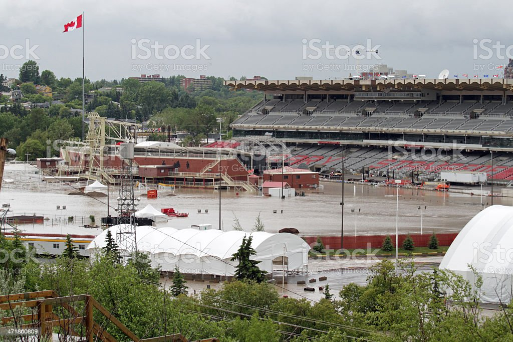 Flooded Calgary Stampede Grandstand stock photo