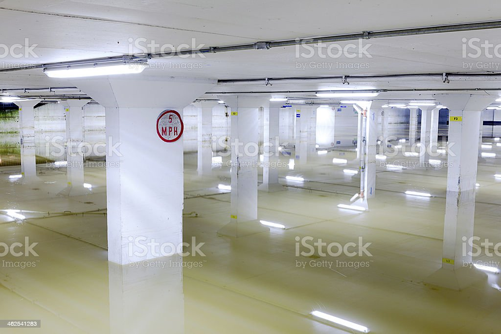 Flooded Car Garage Sign stock photo