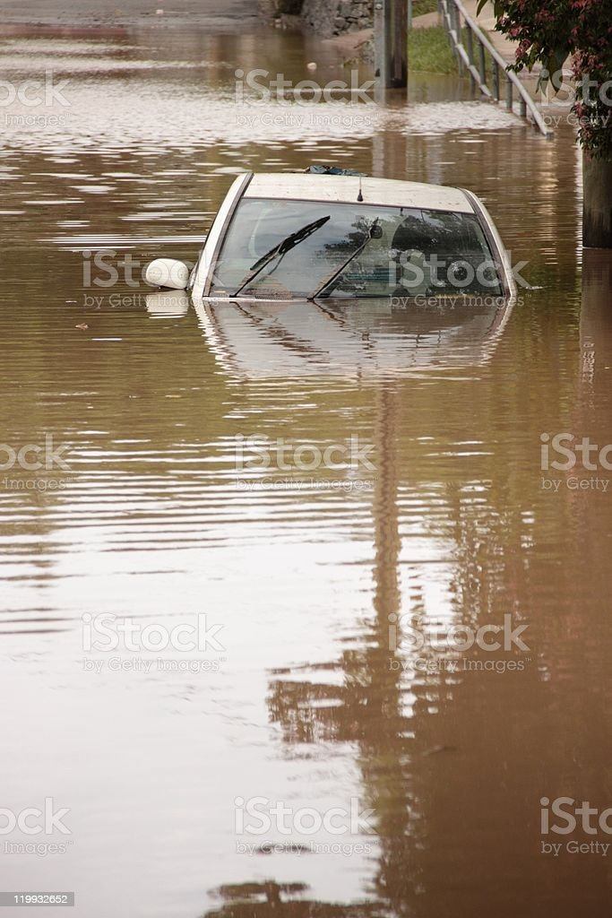 flooded car royalty-free stock photo